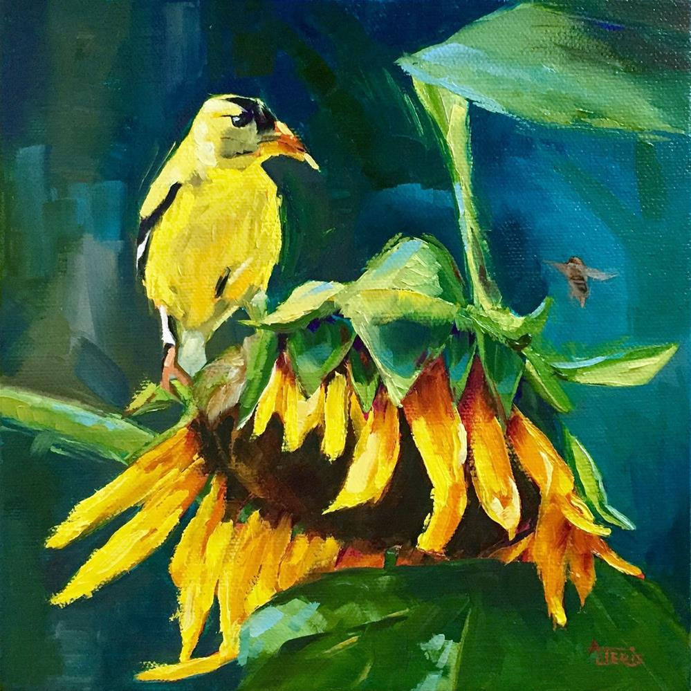 """Yellow (finch)"" original fine art by Andrea Jeris"