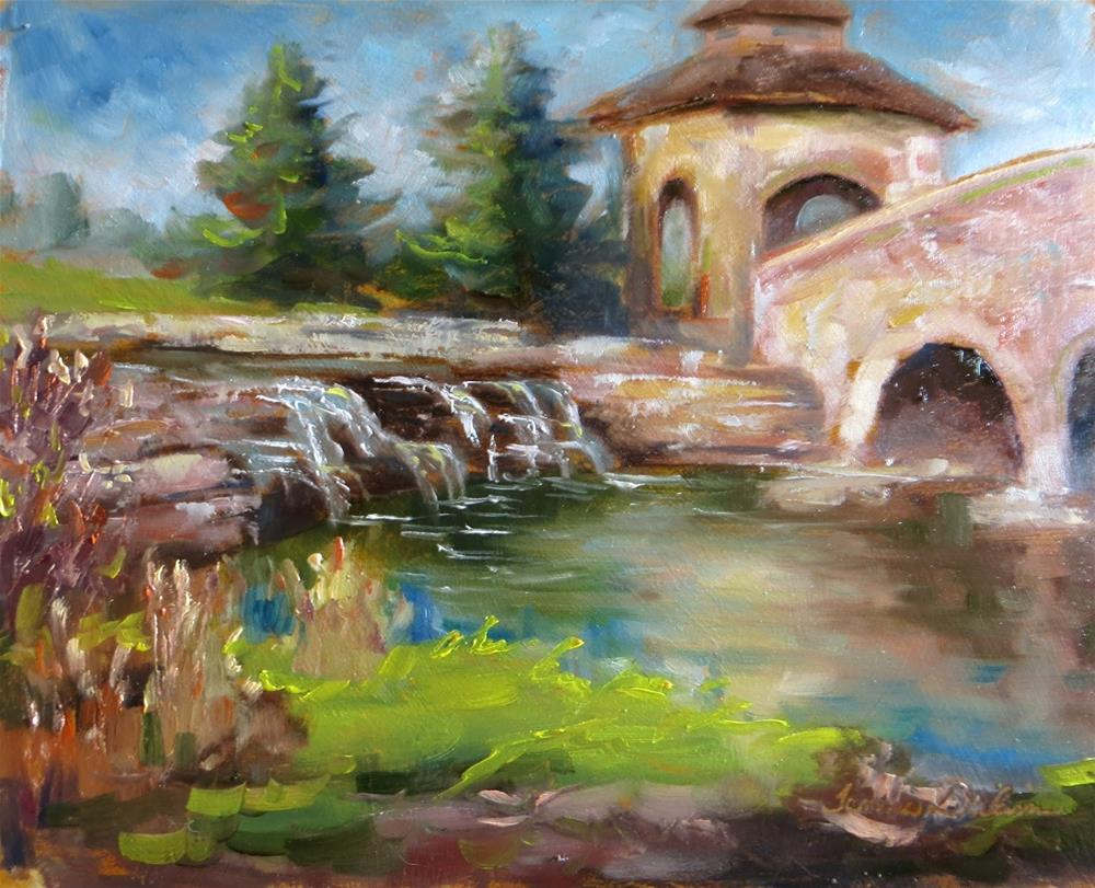 """Waterfall by the Bridge"" original fine art by Tammie Dickerson"
