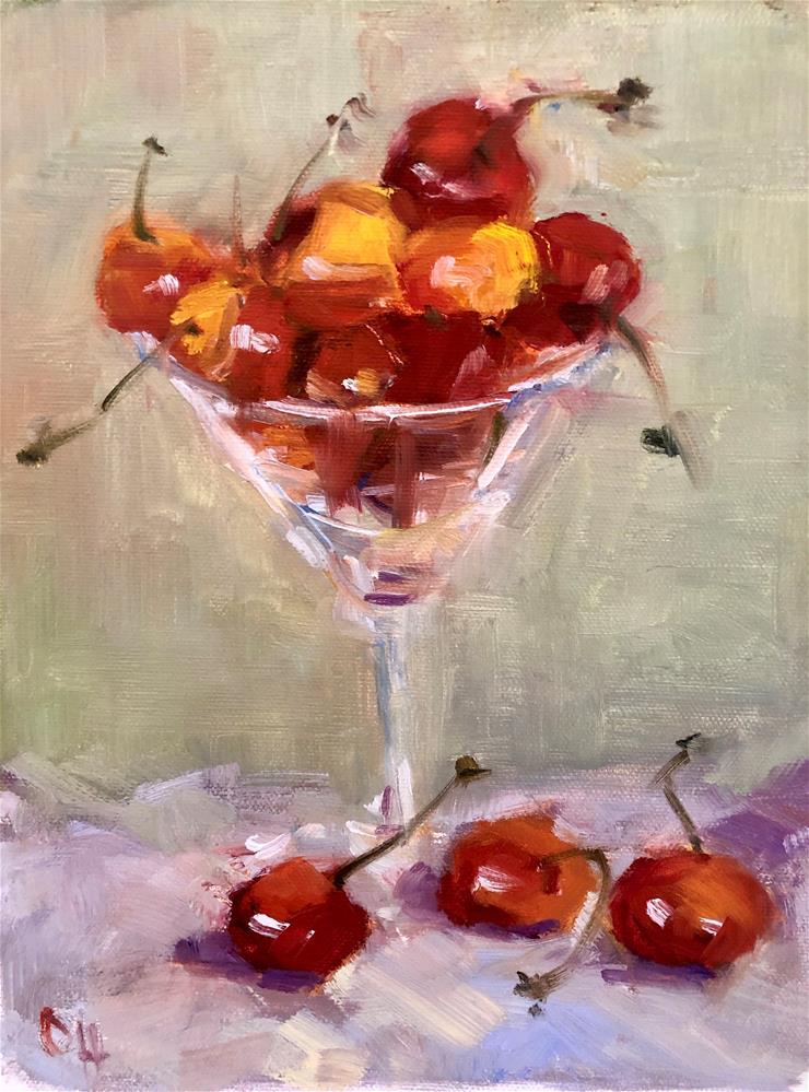 """Martini Cheries"" original fine art by Olga Hegner"