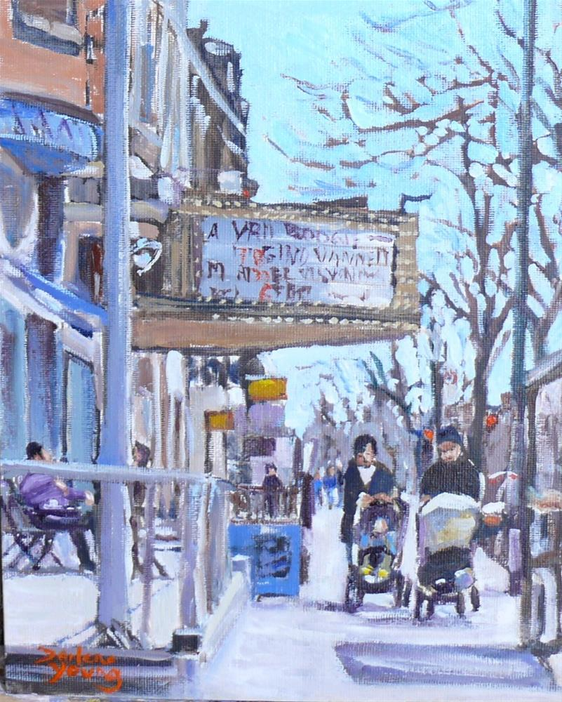 """962 Montreal Scene, Mile End, Du Parc, oil on board 8x10"" original fine art by Darlene Young"