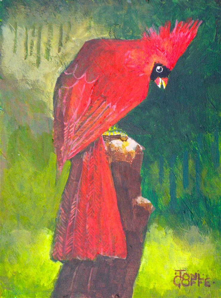 """Cardinal in the Copse"" original fine art by Toni Goffe"