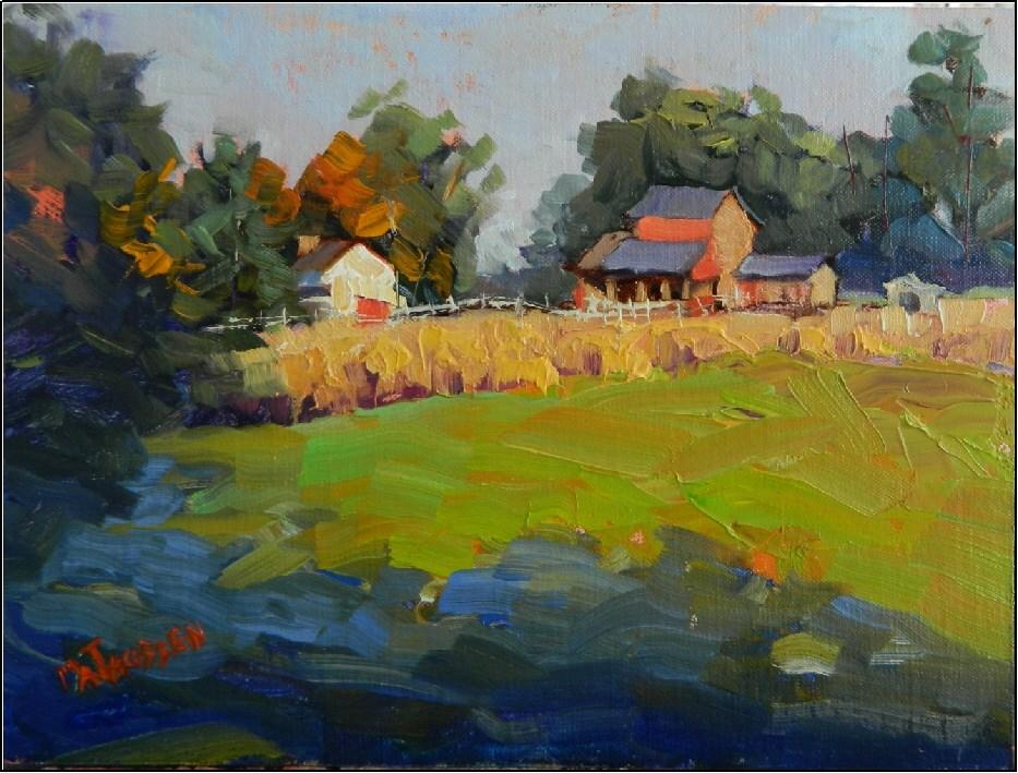 """""""Morning Chill, 9x12, oil on linen, plein air , Coverdale Farm Preserve, Greenville, Delaware, Dela"""" original fine art by Maryanne Jacobsen"""