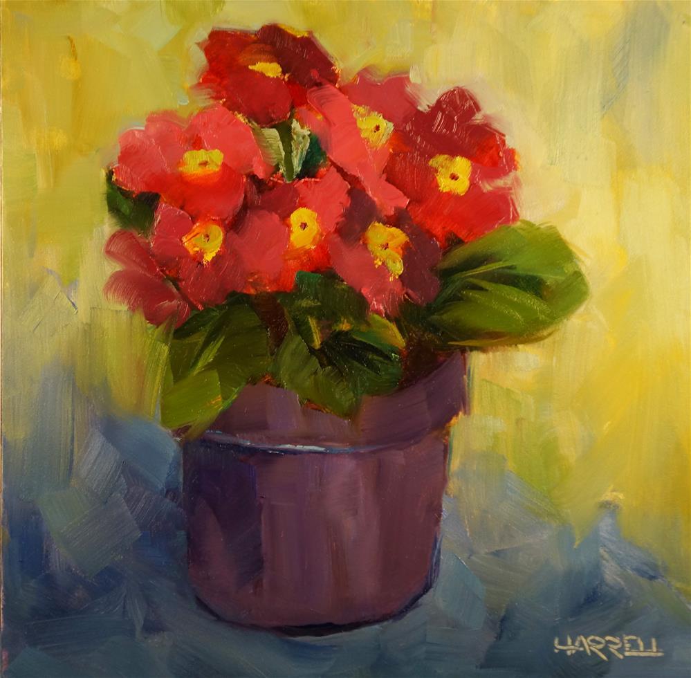 """Primroses"" original fine art by Sue Harrell"