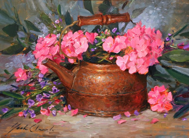 """""""Geraniums with Kettle"""" original fine art by Justin Clements"""