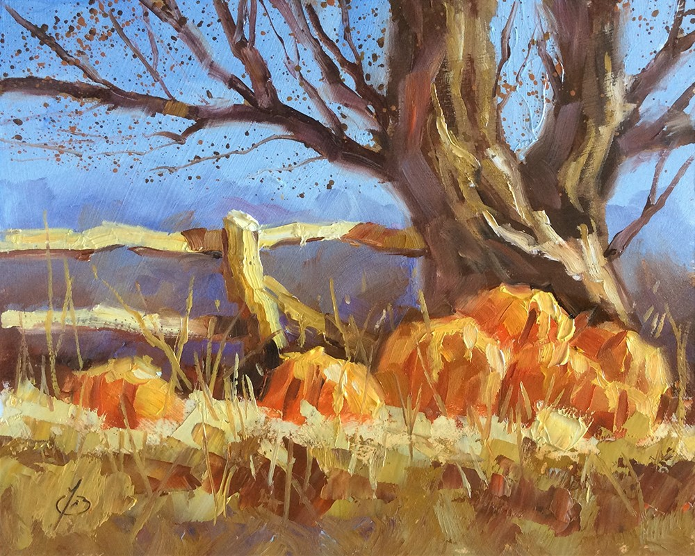 """AUTUMN LANDSCAPE WITH PUMPKINS"" original fine art by Tom Brown"