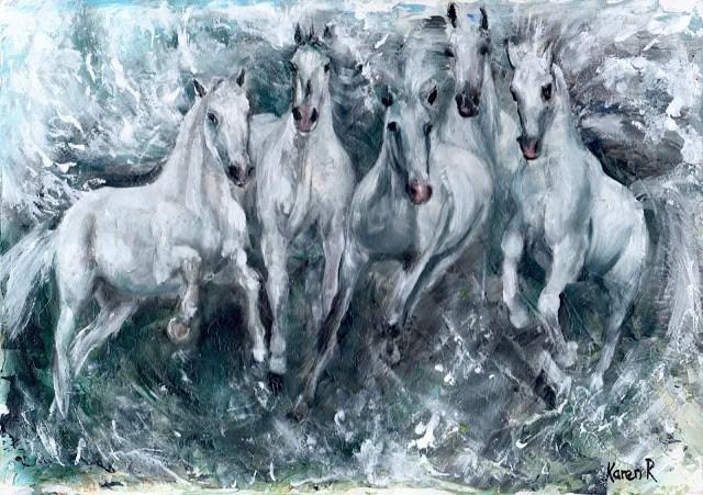 """White Horses Study (No 2)"" original fine art by Karen Robinson"