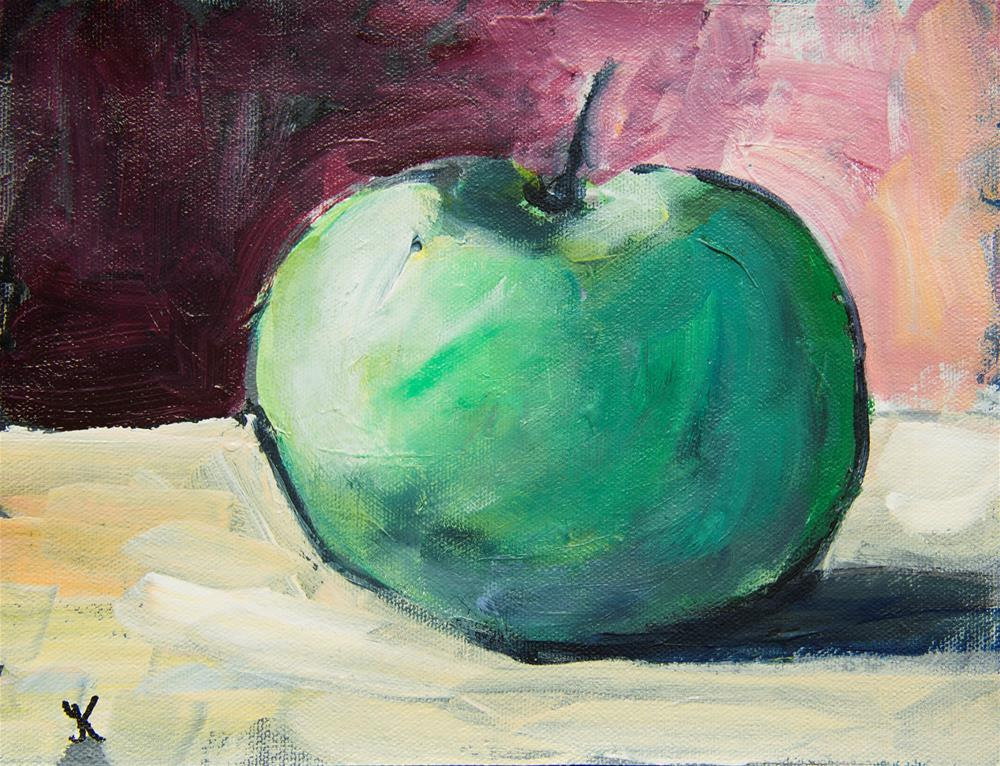 """Green Apple on a table"" original fine art by Yulia Kazansky"