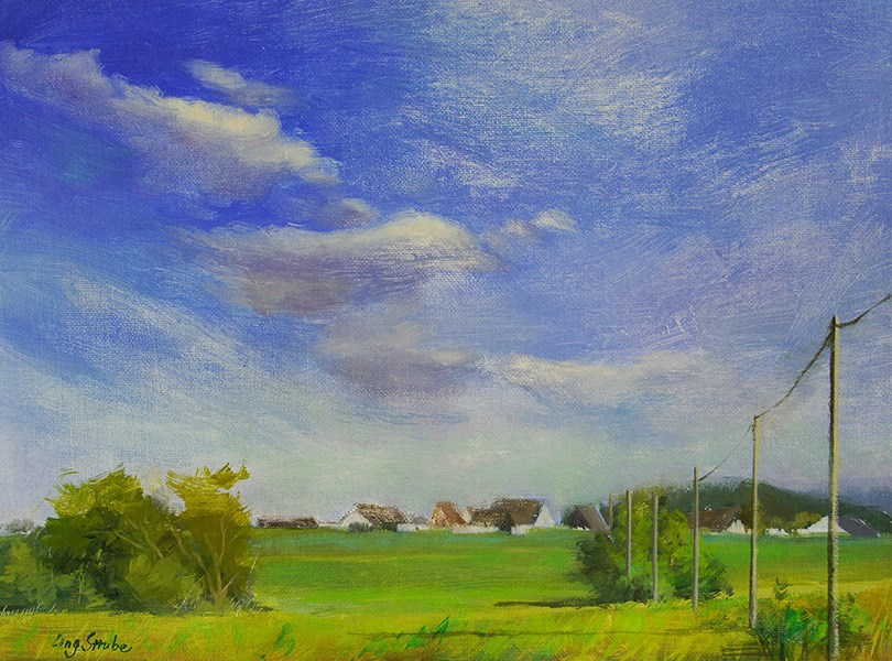 """A Beautiful Summer Day in Germany Village"" original fine art by Ling Strube"