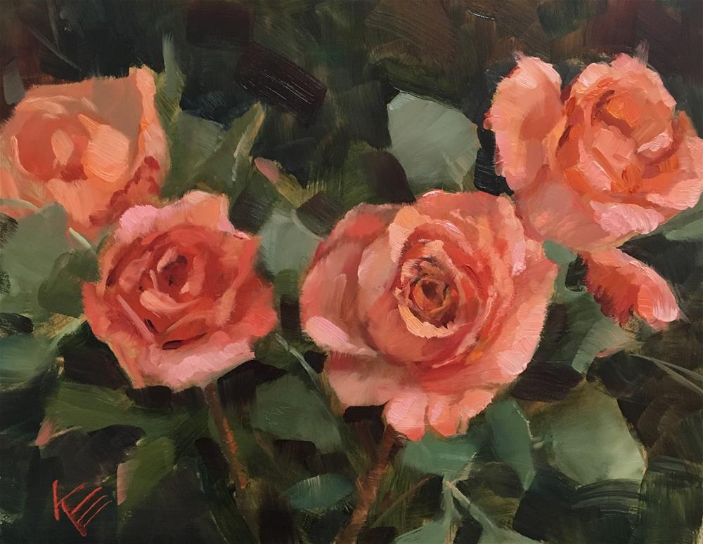 """Peach roses"" original fine art by Krista Eaton"