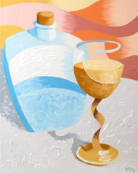 """""""Abstract Wine Glass and Decanter Oil Painting by Northern California Artist Mark Webster"""" original fine art by Mark Webster"""