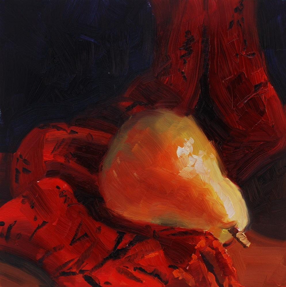 """""""Pear with Red Scarf"""" original fine art by Susan McManamen"""