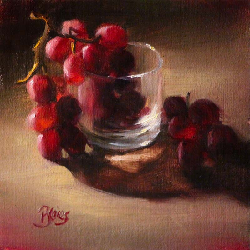 """Red Grapes in a Glass Tumbler"" original fine art by Pamela Blaies"