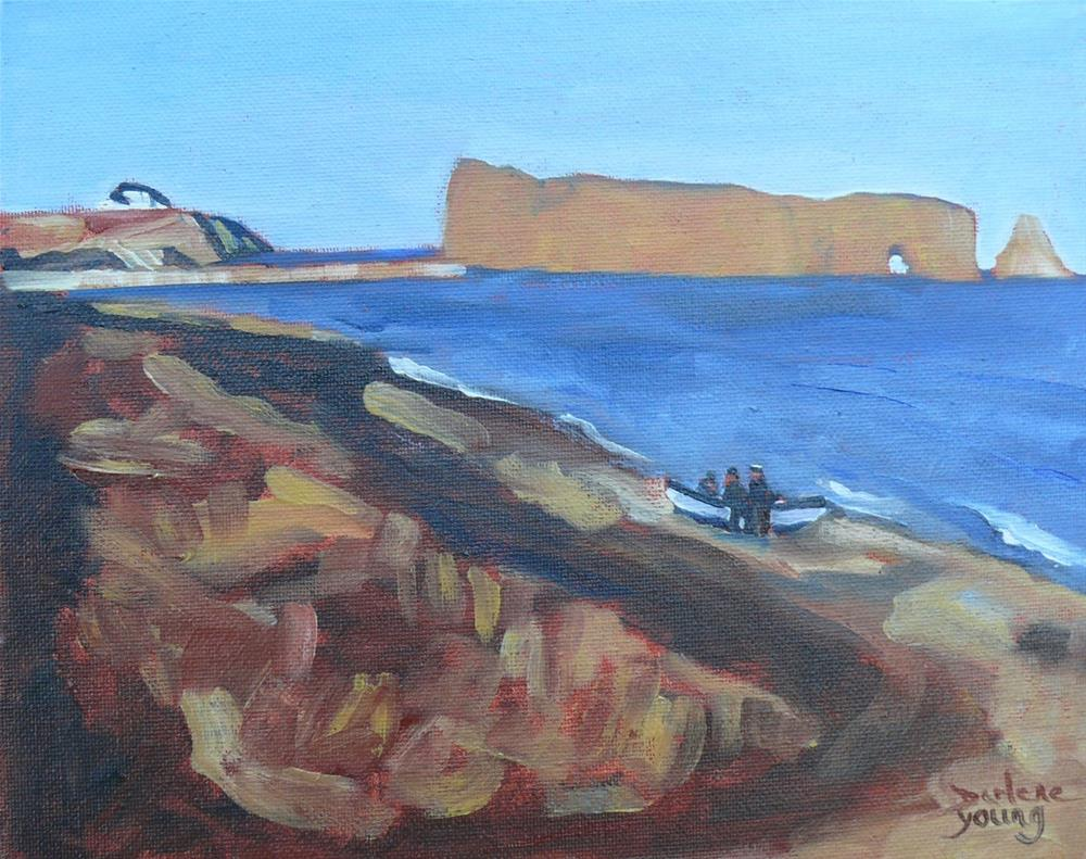 """1062 Gaspe Coast, Perce Rock, 8x10 oil on board"" original fine art by Darlene Young"
