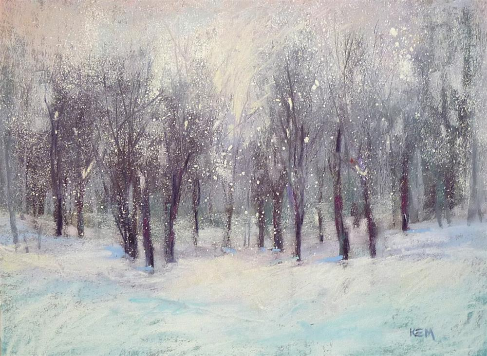 """""""A Simple Technique for Painting Falling Snow with Pastels...demo"""" original fine art by Karen Margulis"""