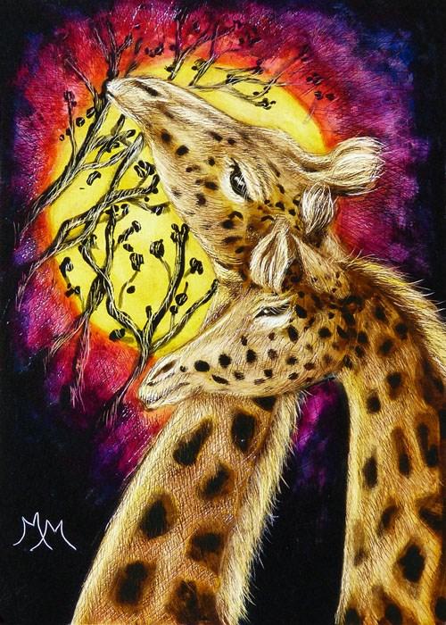 """Giraffes In Love"" original fine art by Monique Morin Matson"