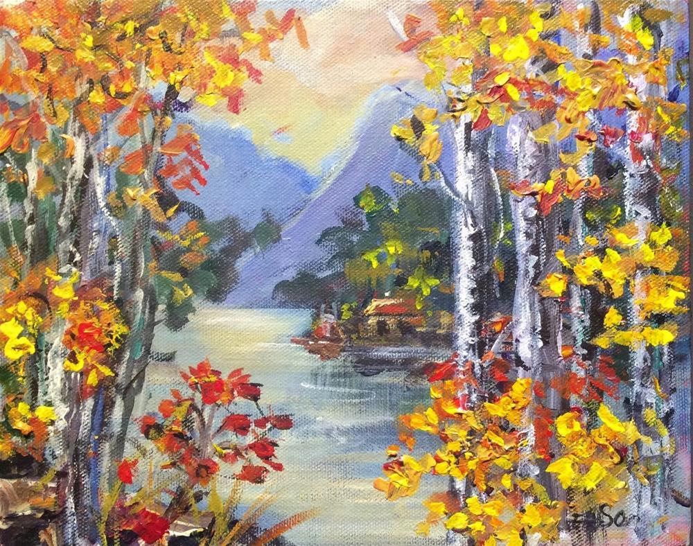 """""""Birches by the lake"""" original fine art by Sonia von Walter"""