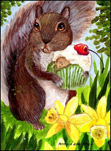"""""""Squirrel with a Sweet Tooth"""" original fine art by Patricia Ann Rizzo"""