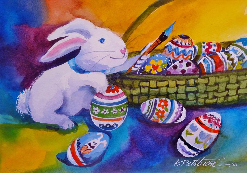 """""""Time to Color the Eggs"""" original fine art by Kathy Los-Rathburn"""