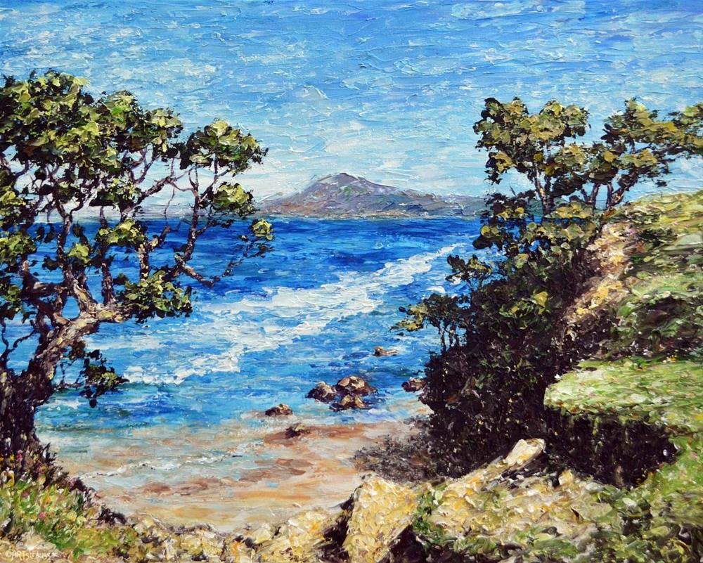 """Kauri Mountain Beach"" original fine art by Gloria Ester"