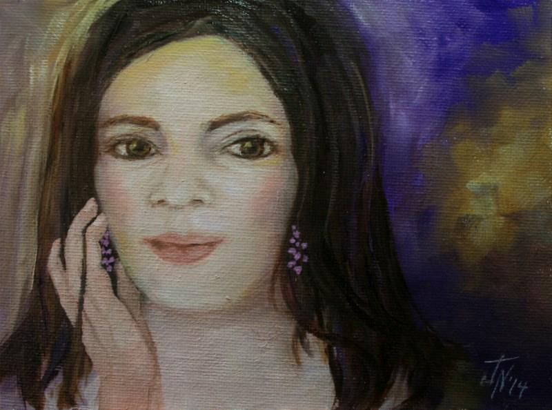 """""""Amethyst Earrings"""" original fine art by Jean Nelson"""