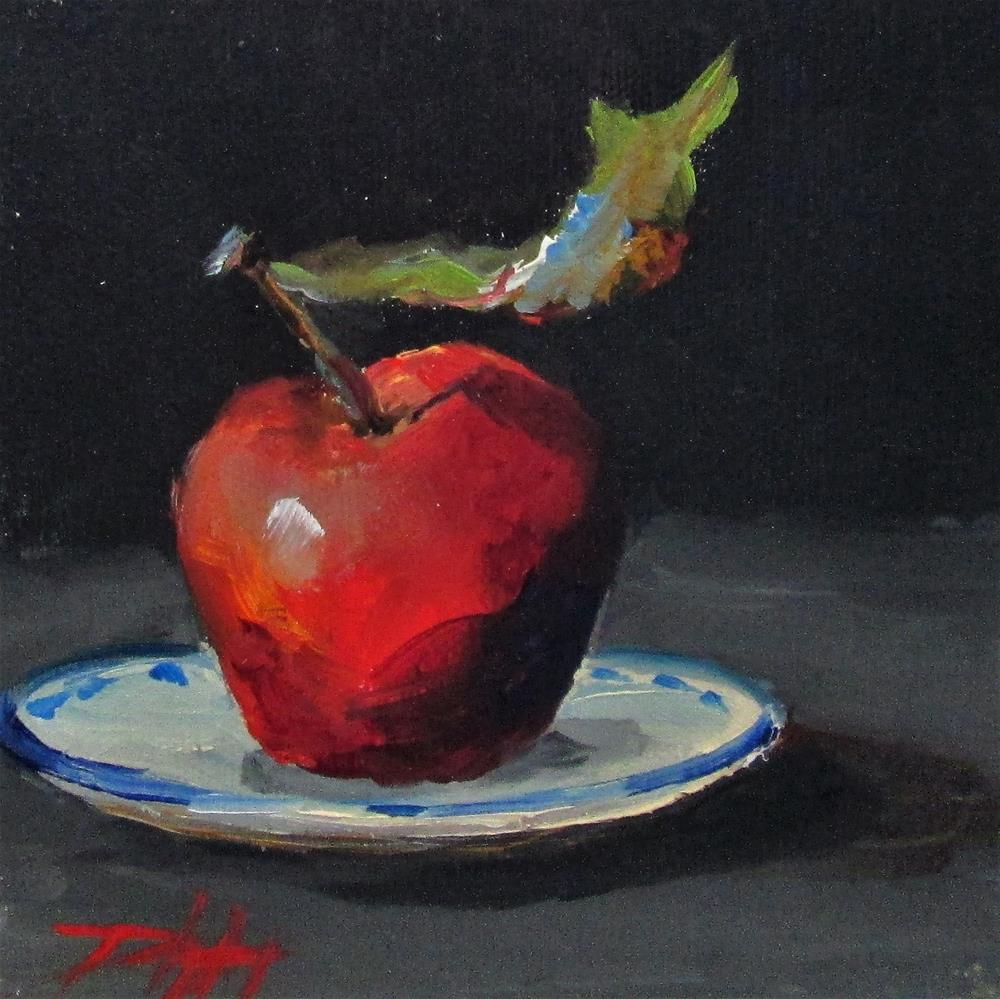 """Apple on a Plate"" original fine art by Delilah Smith"