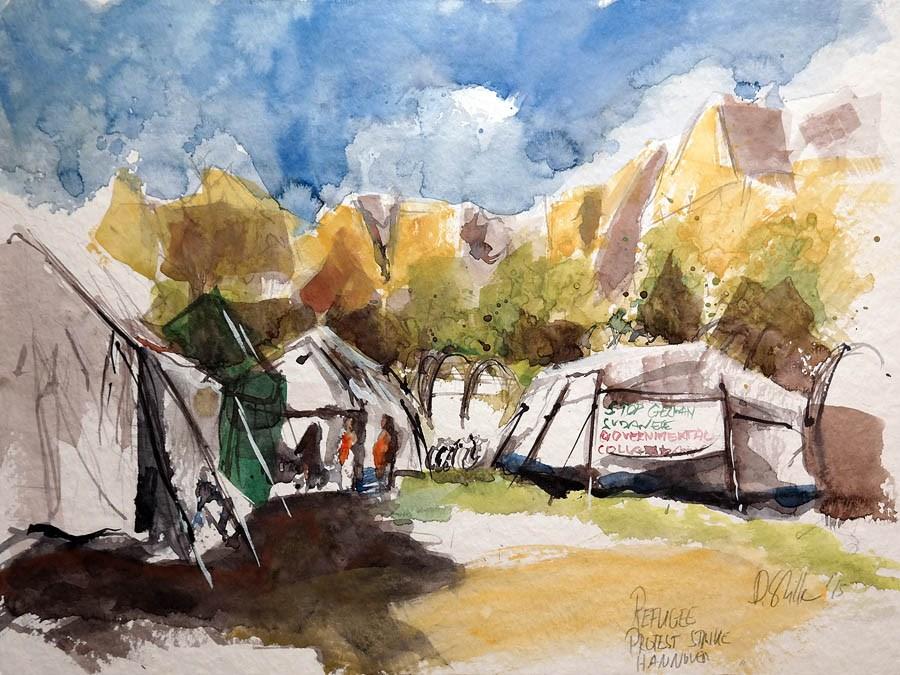 """""""1338 Sudanese Camp"""" original fine art by Dietmar Stiller"""