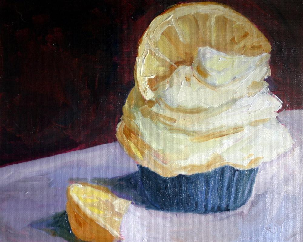 """Lemon Cupcake"" original fine art by Kristen Dukat"