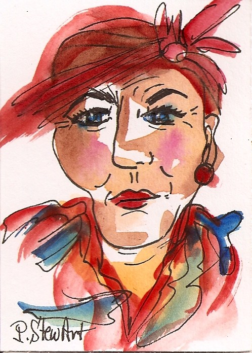 """""""ACEO:  Stylish Woman with red hat and attitude, watercolor & Pen, Original"""" original fine art by Penny Lee StewArt"""