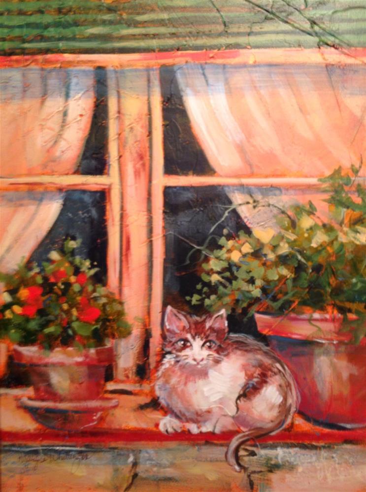 """Watch Cat"" original fine art by Margie Whittington"