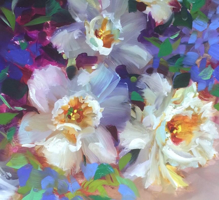 """Daffodils and a Big Announcement August 16"" original fine art by Nancy Medina"