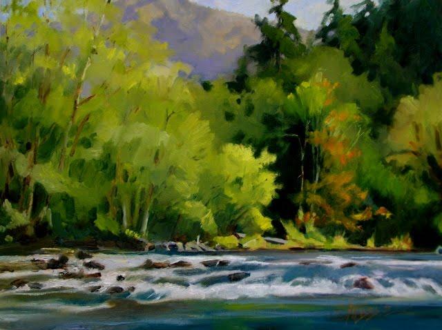 """River Bend Elwha river valley. plein air, landscape oil painting"" original fine art by Robin Weiss"
