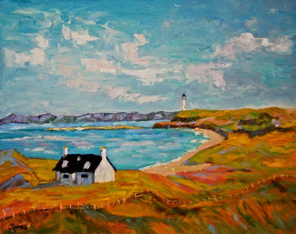 """Lonely Cottage with Lighthouse"" original fine art by Liz Zornes"