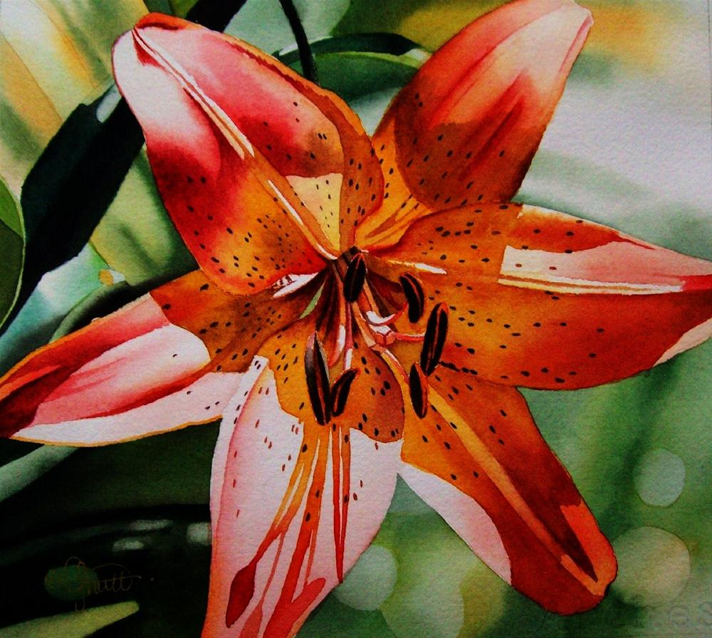 """Yellow & Red Oriental Lily"" original fine art by Jacqueline Gnott, TWSA, WHS"