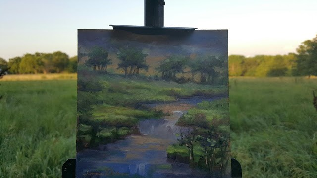 """""""Fading Light at the Creek"""" original fine art by Tammie Dickerson"""