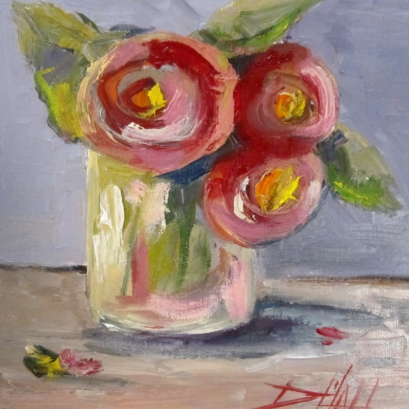 """Pink Flowers"" original fine art by Delilah Smith"