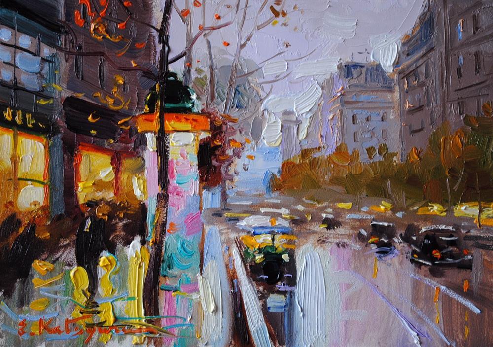 """""""Rainy Sidewalk"""" original fine art by Elena Katsyura"""