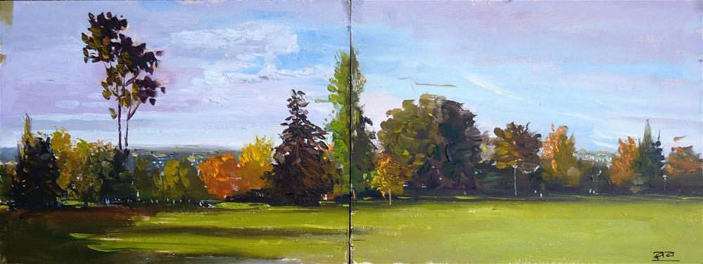 """""""The Royal Crescent Park, Bath"""" original fine art by Adebanji Alade"""
