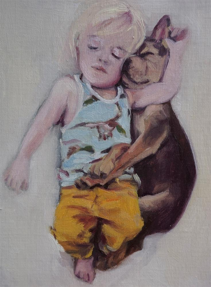 """""""Boy and puppy taking a nap"""" original fine art by Jeroen van der Velden"""