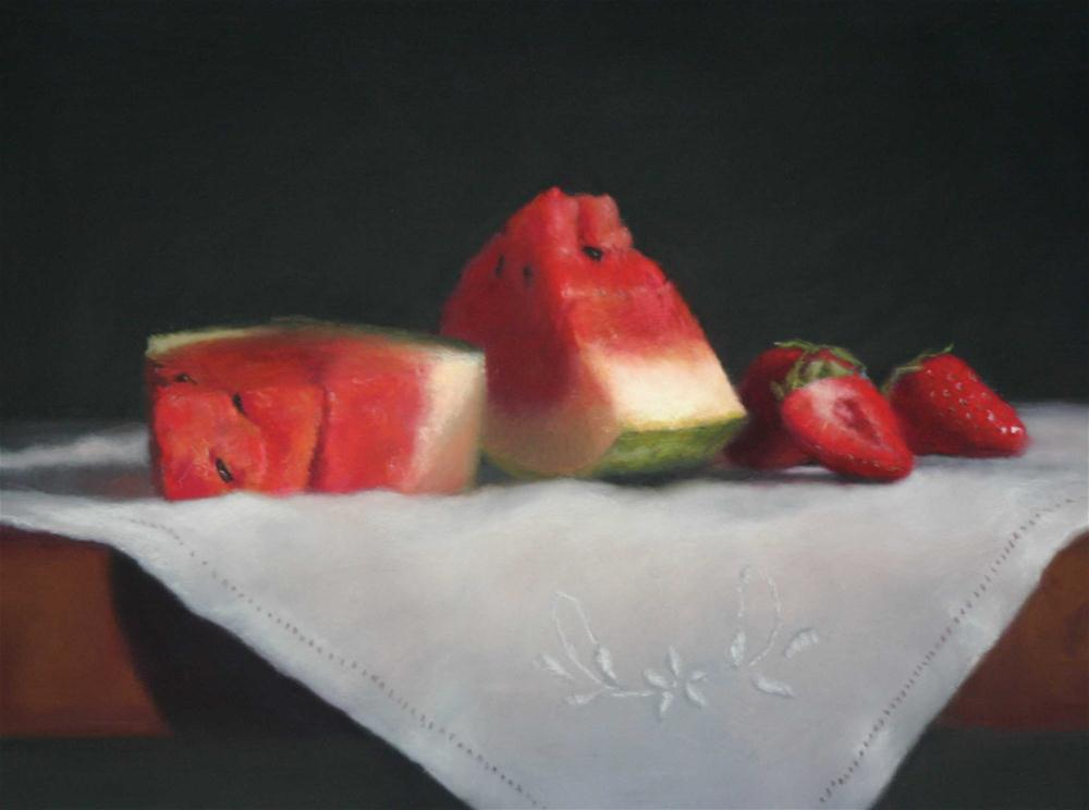 """Strawberries and Watermelon"" original fine art by Liz Balkwill"