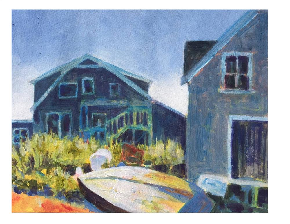 """Cottages at Fish Beach"" original fine art by Suzanne Woodward"