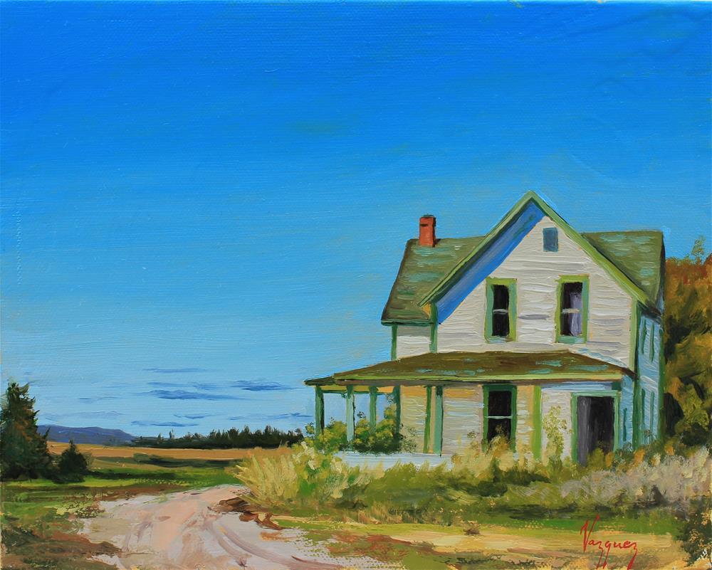 """Green roof house"" original fine art by Marco Vazquez"