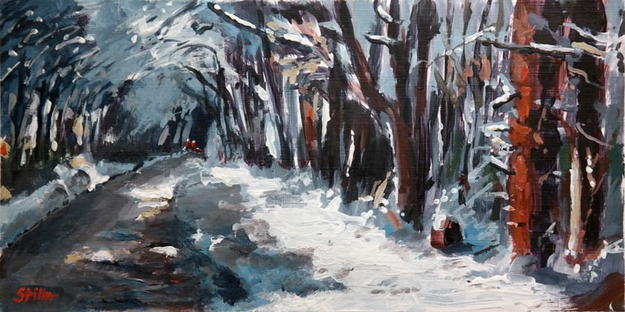 """1976 Walks in the Snow"" original fine art by Dietmar Stiller"