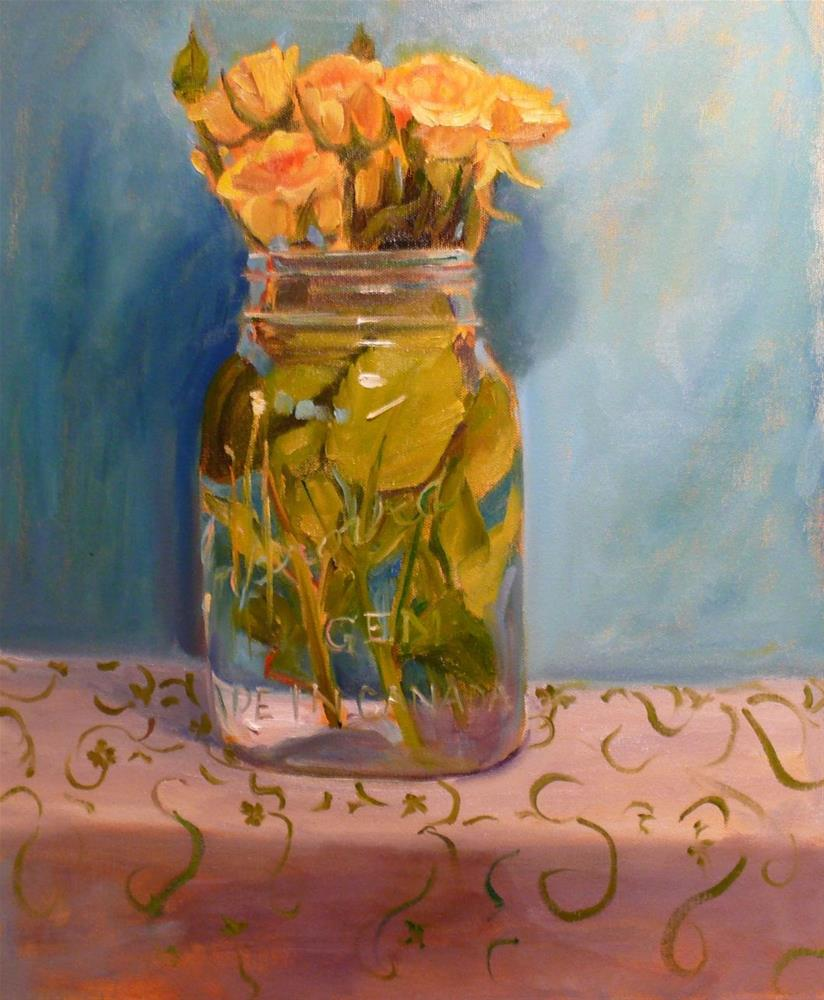 """673 Yellow Roses in a Jar"" original fine art by Darlene Young"
