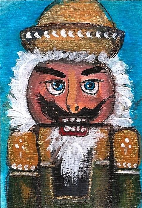 """ACEO Nutcracker Painting Gold Forest Green Toy Original SFA Penny StewArt"" original fine art by Penny Lee StewArt"