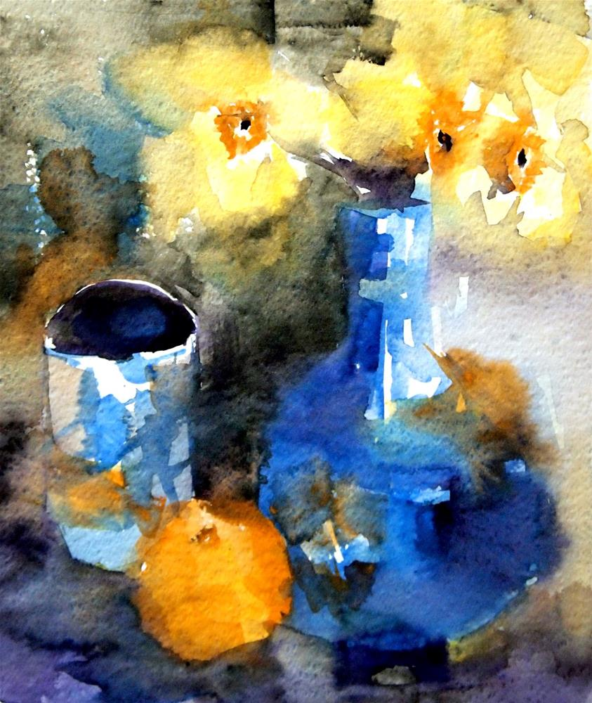 """No. 2--Daffodils Abstracted"" original fine art by Amy Bryce"