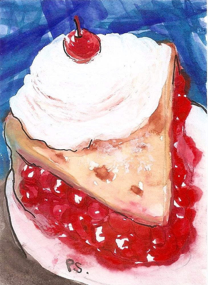 """ACEO Cherry Pie A La Mode Watercolor Illustration Painting Penny Lee StewArt"" original fine art by Penny Lee StewArt"