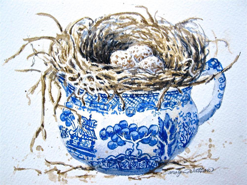 """""""Nesting in Blue Willow"""" original fine art by carolyn watson"""