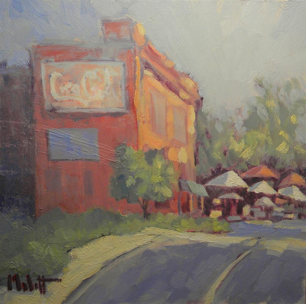 """Coca Cola Vintage Sign on Brick Building al Fresco Cafe"" original fine art by Heidi Malott"