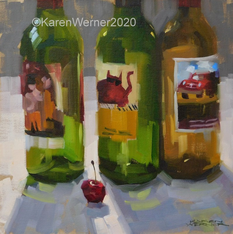 """Cherry In The Gap"" original fine art by Karen Werner"