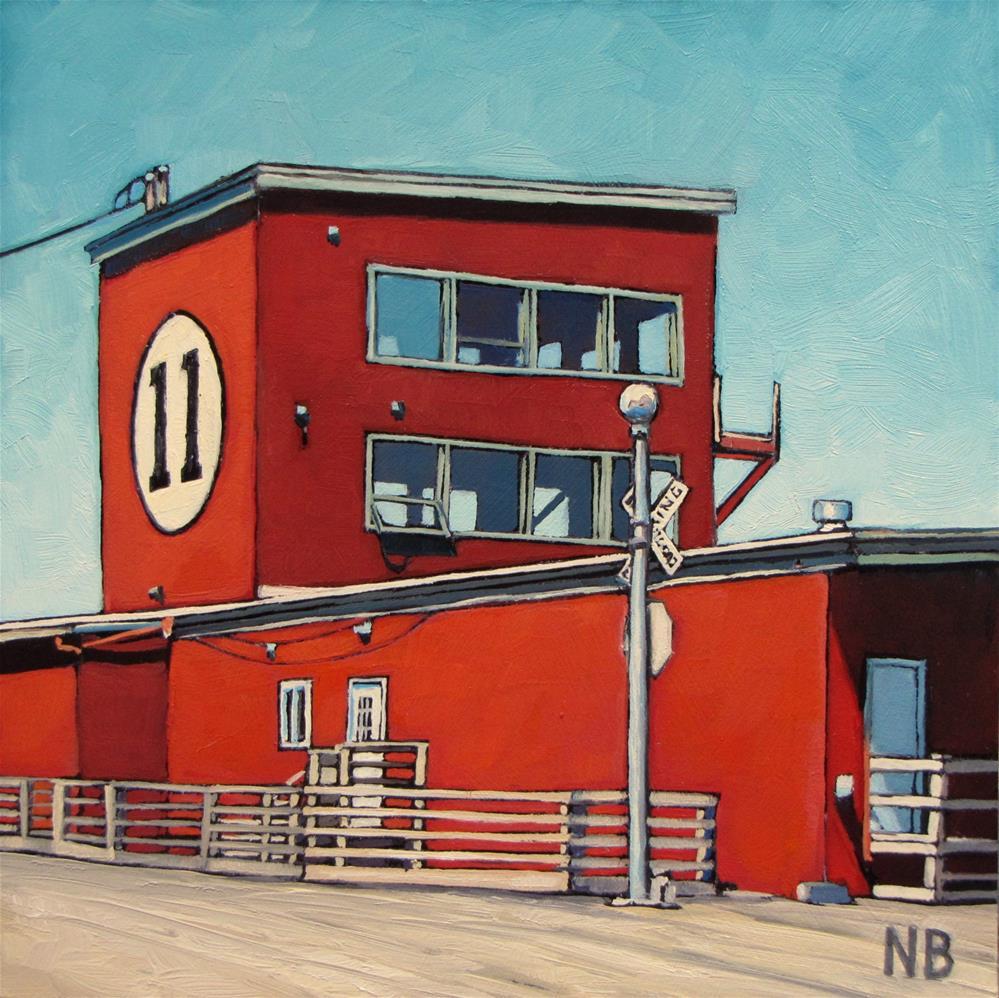 """Trolley Crossing at Pier Eleven"" original fine art by Nora Bergman"